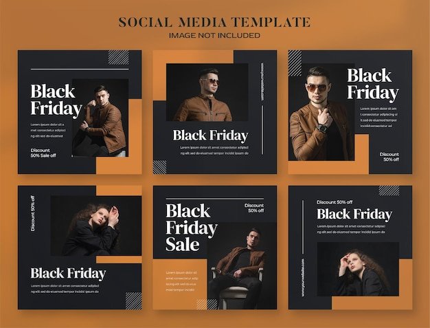 Черная пятница баннер в социальных сетях и шаблон сообщения instagram