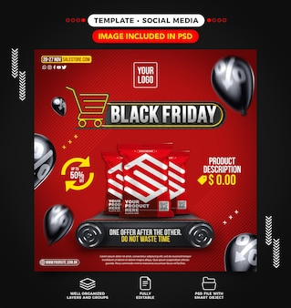 Black friday social media feed template for supermarkets with great deals