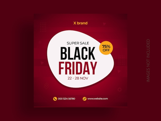 Black friday social media post banner template and square flyer