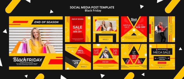 Black friday social media post template mock-up