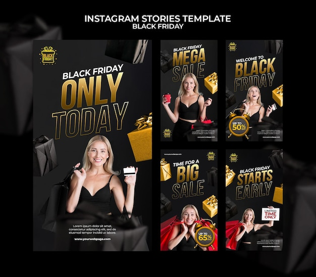 Black friday social media stories collection