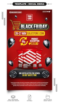 Black friday social media stories template for supermarkets with great deals