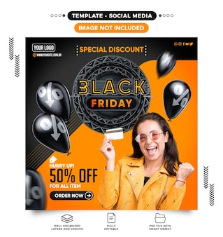 Black friday special discounts banner feed template