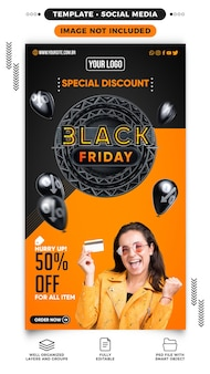 Black friday special discounts banner stories template