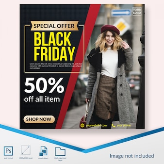 Black friday special fashion discount offer social media post template