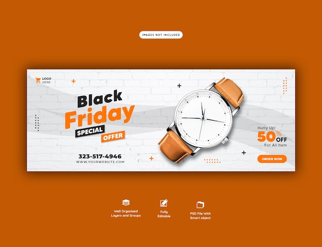 Black friday special offer facebook cover banner template