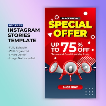 Black friday special offer promotion for instagram post stories design template