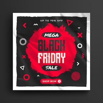 Специальная распродажа черной пятницы в социальных сетях и шаблон веб-баннера