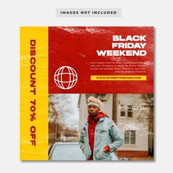 ブラックフライデーストリートウェアファッションソーシャルメディア投稿テンプレート