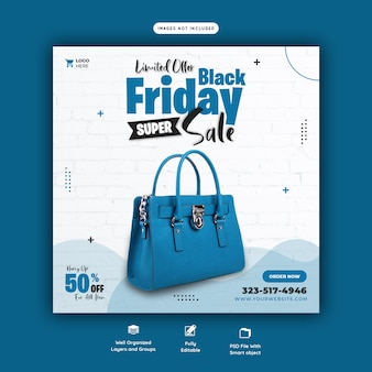 Modello di banner di social media di vendita super black friday