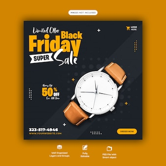 Black friday super sale social media banner template