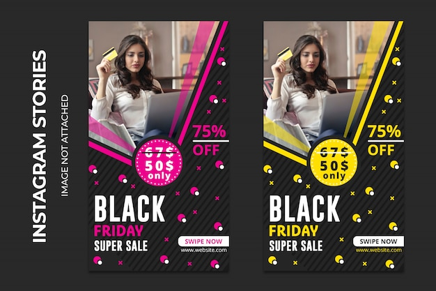 Black friday super sale social web banners premium