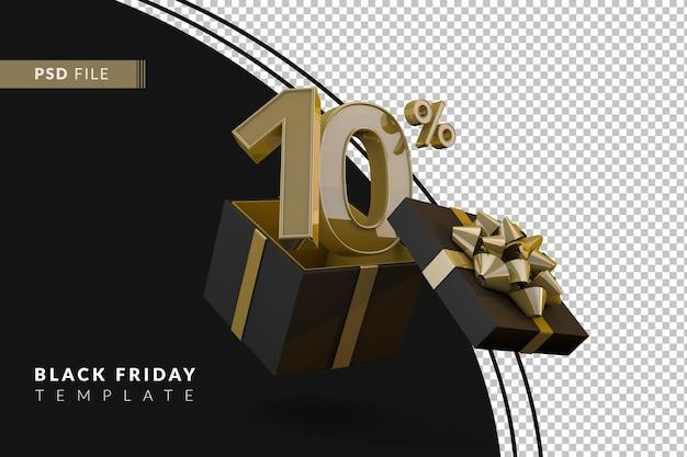 Супер распродажа черной пятницы с 10-процентным золотым номером, черной подарочной коробкой и золотой лентой 3d-рендеринга