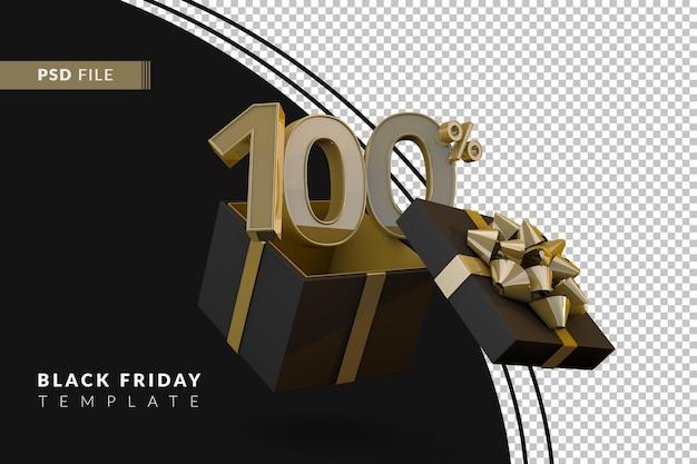 Супер распродажа черной пятницы со 100-процентным золотым номером, черной подарочной коробкой и золотой лентой 3d-рендеринга