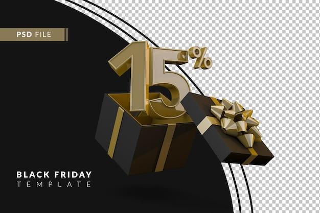 Черная пятница супер распродажа с 15-процентным золотым номером, черной подарочной коробкой и золотой лентой 3d-рендеринга