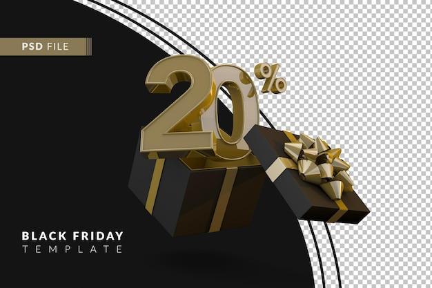 Супер распродажа черной пятницы с 20-процентным золотым номером, черной подарочной коробкой и золотой лентой 3d-рендеринга
