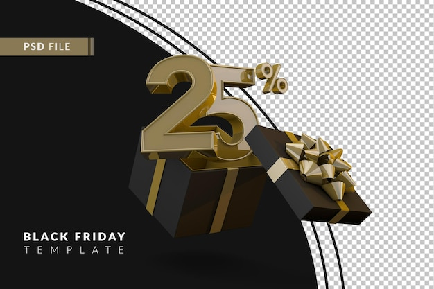 Black friday super sale with 25 percent gold number and black gift box and gold ribbon 3d render