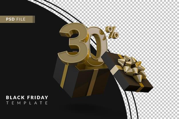 Супер распродажа черной пятницы с 30-процентным золотым номером, черной подарочной коробкой и золотой лентой 3d-рендеринга