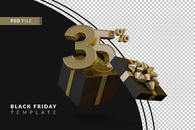 Черная пятница супер распродажа с 35-процентным золотым номером, черной подарочной коробкой и золотой лентой 3d-рендеринга
