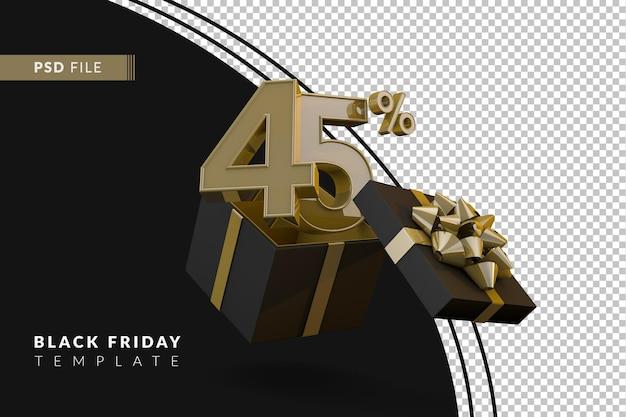Черная пятница супер распродажа с 45-процентным золотым номером, черной подарочной коробкой и золотой лентой 3d-рендеринга