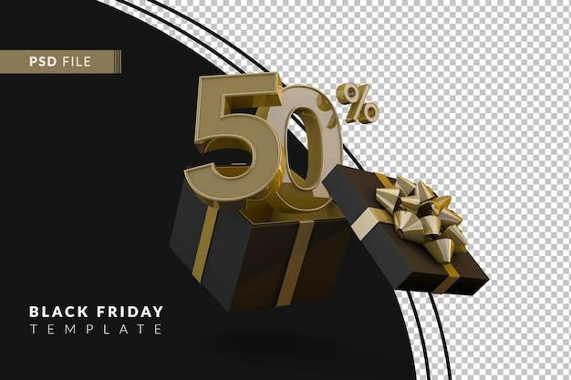 Супер распродажа черной пятницы с 50-процентным золотым номером, черной подарочной коробкой и золотой лентой 3d-рендеринга