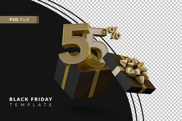 Черная пятница супер распродажа с 55-процентным золотым номером, черной подарочной коробкой и золотой лентой 3d-рендеринга