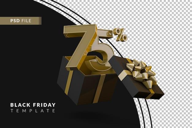 Супер распродажа черной пятницы с 75-процентным золотым номером, черной подарочной коробкой и золотой лентой 3d-рендеринга