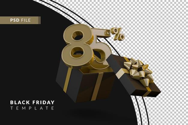 Черная пятница супер распродажа с 85-процентным золотым номером, черной подарочной коробкой и золотой лентой 3d-рендеринга