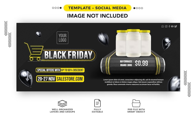 Black friday supermarket banner template with special offers up to 50 off