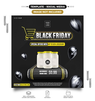 Black friday supermarket feed template with special offers up to 50 off