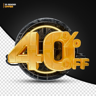 Black friday technology 40% 할인 할인 제공 레이블 구성용 3d 렌더링
