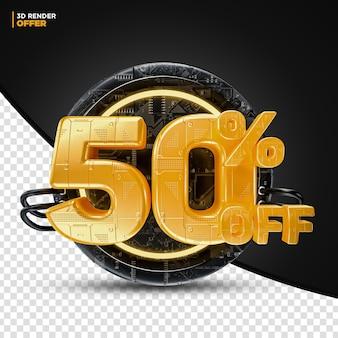 Black friday technology 50% 할인 할인 제공 레이블 구성용 3d 렌더링