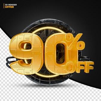 Black friday technology 90% 할인 할인 제공 레이블 구성용 3d 렌더링