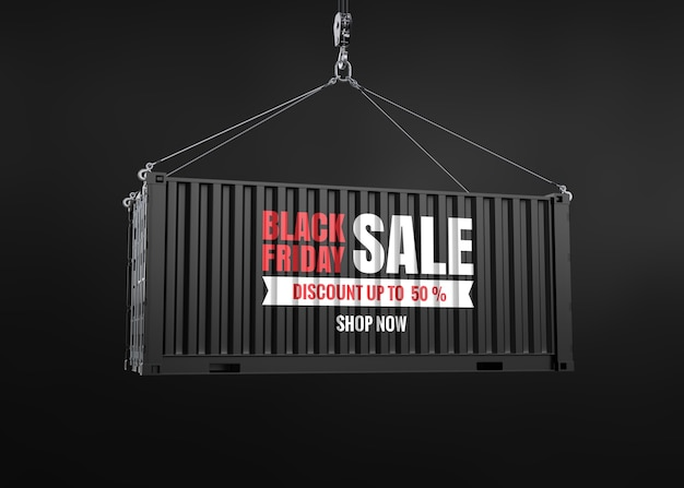 Black friday text sale on container mockup