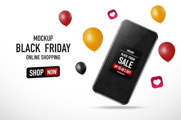 Black friday text with mock up smartphone