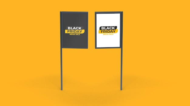 Black friday two different street advertising poles mockup