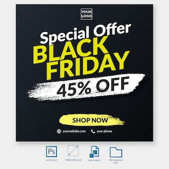 Black friday typography discount offer social media post template web banner