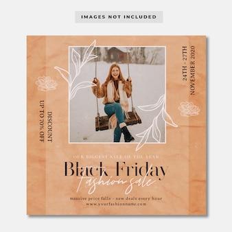 ブラックフライデーヴィンテージファッションプロモーションinstagramの投稿テンプレート