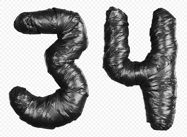 Black garbage bag alphabet numbers 3 and 4 isolated