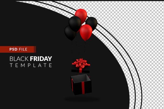 Черная подарочная коробка и воздушные шары, плавающие на особый день акции черной пятницы