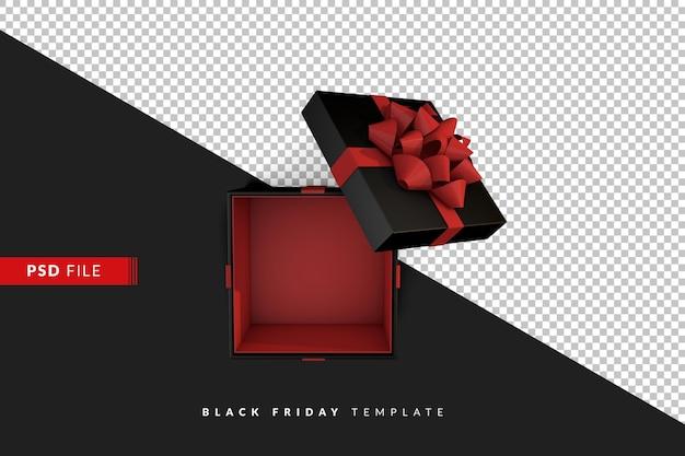 Черная подарочная коробка на темном фоне вид сверху. 3d визуализация концепция продажи черная пятница