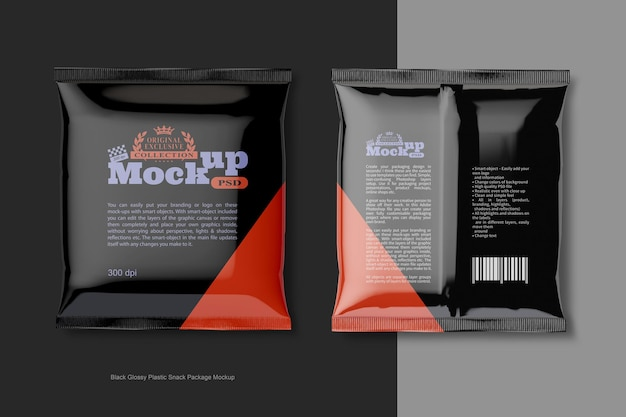 黒の光沢のあるプラスチックスナックパッケージのモックアップ