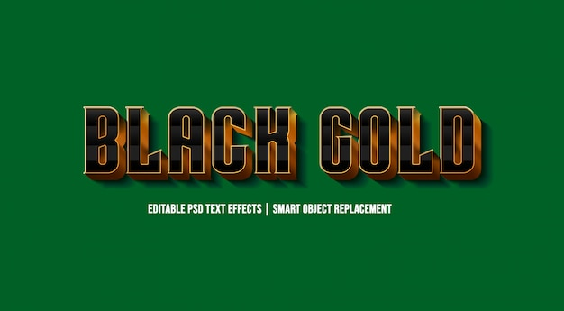 Black gold 3d text style effect