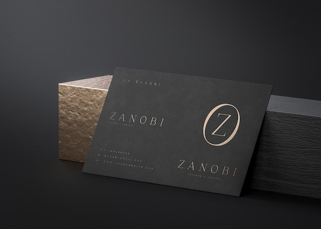 Black and gold business card mockup on black background for branding 3d render