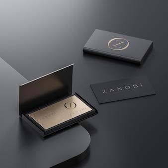 Black and gold business card with cardholder mockup on black background for branding 3d render