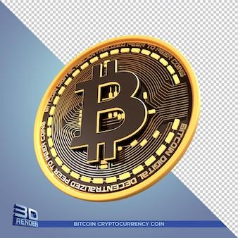 Черное золото монета биткойн криптовалюты 3d визуализации изолированные