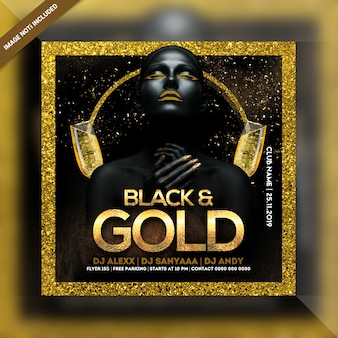 Black & gold night party square flyer