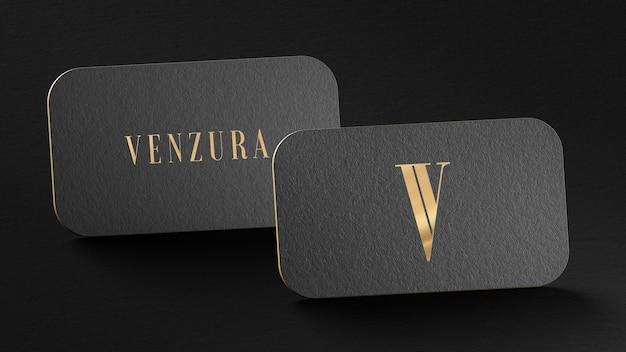 Black gold press business card for brand presentation 3d render