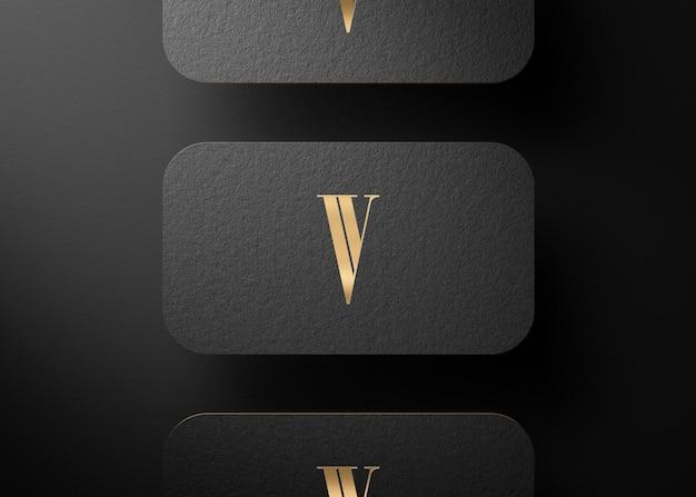 브랜드 프리젠 테이션을위한 블랙 골드 프레스 명함 3d 렌더링