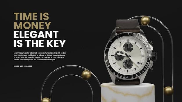 Черный золотой рельс 3d подиум дисплей продукта ландшафтный макет